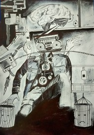 Connection by Aashish kumar, Illustration Drawing, Pen on Paper, Gray color