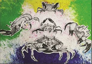 Aqua Crab by Surbhi Varma, Expressionism Painting, Acrylic on Board, Beige color