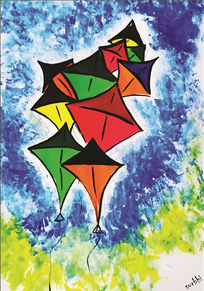 Colorful Kites by Surbhi Varma, Expressionism Painting, Acrylic on Paper, Blue color