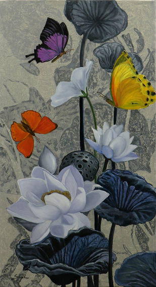 Flower with butterfly 8- by Sulakshana Dharmadhikari, Expressionism Painting, Oil on Canvas, Gray color