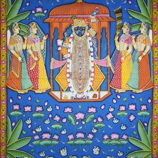 Pichwai Painting by Unknown Artist, Folk Painting, Natural stone colour on cotton, Blue color