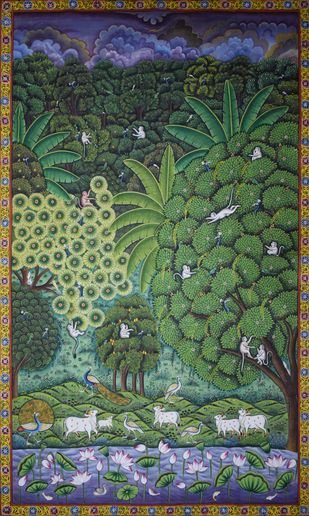Pichwai Painting by Unknown Artist, Folk Painting, Natural stone colour on cotton, Green color