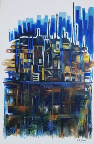 untitled by A B PANDEY, Abstract Painting, Acrylic on Canvas, Blue color