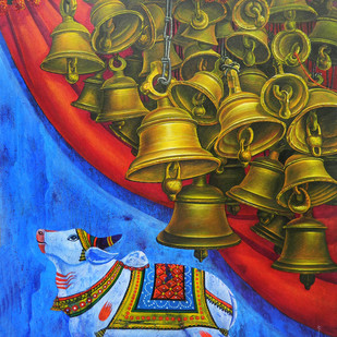 Bells-15 by Anil Kumar Yadav, Expressionism Painting, Acrylic on Canvas, Blue color