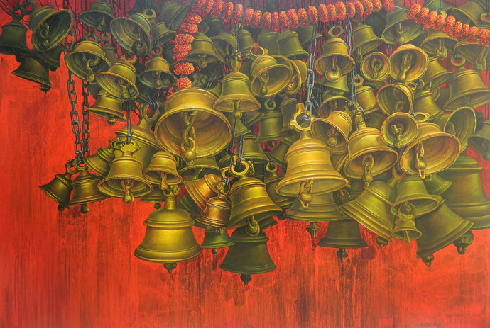 Bells--16 by Anil Kumar Yadav, Expressionism Painting, Acrylic on Canvas, Brown color
