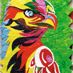 Golden Eagle by Surbhi Varma, Pop Art Painting, Acrylic on Paper, Green color