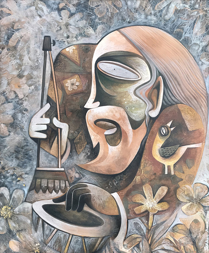 Baul by Sekhar Basu, Expressionism Painting, Tempera on Canvas Board, Gray color