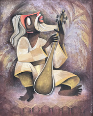 Baul by Sekhar Basu, Expressionism Painting, Tempera on Canvas Board, Brown color