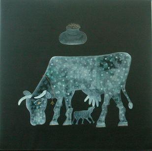 Kamdhenu-1 by Yogeeta Yadav, Expressionism Painting, Acrylic on Canvas, Green color