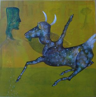 Desire-1 by Yogeeta Yadav, Expressionism Painting, Acrylic on Canvas, Green color