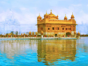 The Golden Temple Digital Print by The Print Studio,Digital
