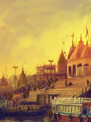 Varanasi- Dusk Digital Print by The Print Studio,Digital