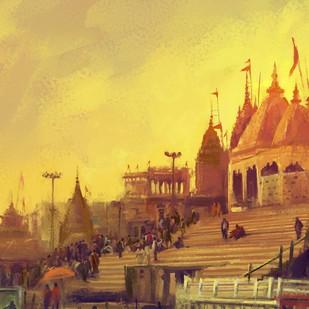 Varanasi- Dusk by The Print Studio, Digital Painting, Digital Print on Canvas, Beige color
