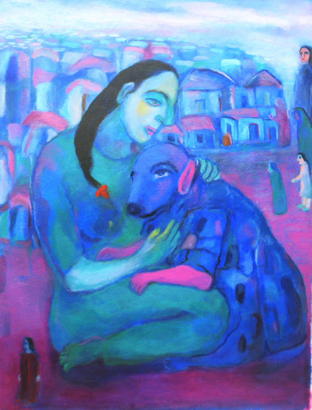 life Garden by Aradhna Tandon, Expressionism Painting, Oil & Acrylic on Canvas, Blue color