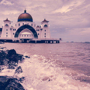 Mosque by the sea by Ranjith Mehenderkar, Image Photography, Digital Print on Paper, Pink color