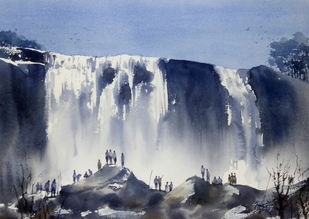 Waterfall by Sunil Linus De, Impressionism Painting, Watercolor on Paper, Gray color