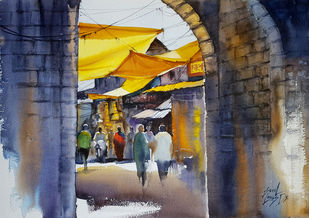 Market by Sunil Linus De, Impressionism Painting, Watercolor on Paper, Brown color