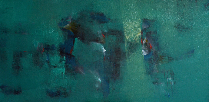 Untitled by Khilavan, Abstract Painting, Oil & Acrylic on Canvas, Green color