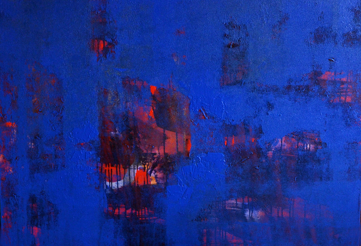 From the painters heart by Khilavan, Abstract Painting, Acrylic on Canvas, Blue color