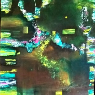 Untitled by Gauri Gulati, Abstract Painting, Acrylic on Canvas, Green color