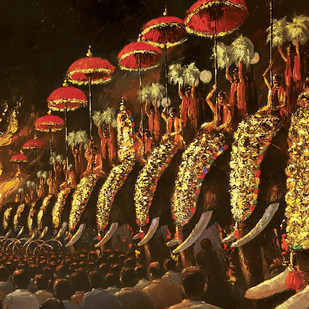 Pooram by Sunil Linus De, Impressionism Painting, Acrylic on Canvas, Brown color