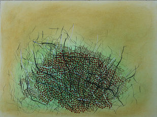 breathing landscape-1 by Sarita Chouhan, Expressionism Painting, Mixed Media on Paper, Beige color