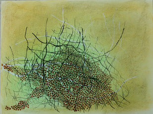 breathing landscape-2 by Sarita Chouhan, Expressionism Painting, Mixed Media on Paper, Beige color