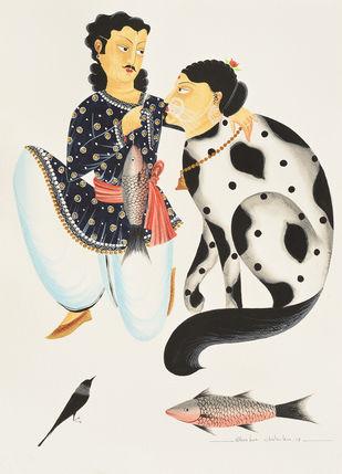 Babu feeding his 'beloved' cat by Bhaskar Chitrakar, Folk Painting, Natural colours on paper, Beige color