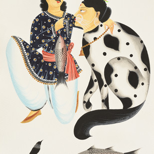Babu feeding his 'beloved' cat by Bhaskar Chitrakar, Folk Painting, Natural colours on paper, Beige color