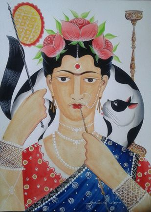 Frida Kahlo - reimagined by Bhaskar Chitrakar, Folk Painting, Natural colours on paper, Brown color