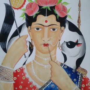 Frida Kahlo - reimagined by Bhaskar Chitrakar, Folk Painting, Natural colours on paper, Brown color