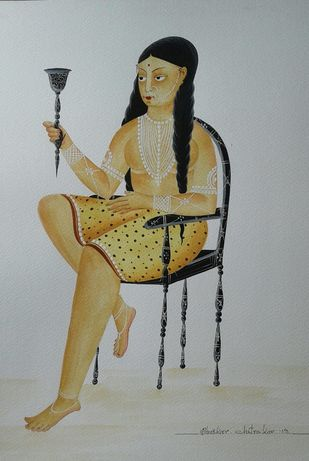 Tribal woman on chair with hookah by Bhaskar Chitrakar, Folk Painting, Natural colours on paper, Gray color