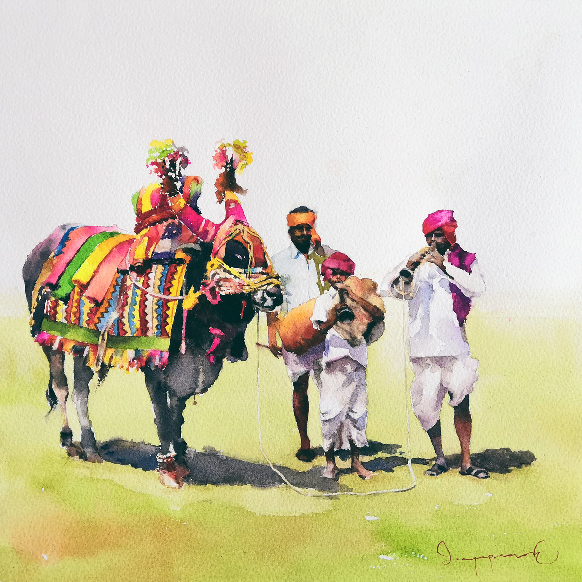 Gangireddu with 3 Masters by Jeyaprakash M, Expressionism Painting, Watercolor on Paper, Beige color