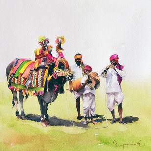 Gangireddu with 3 Masters Digital Print by Jeyaprakash M,Expressionism