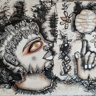 Untitled by Runa Biswas, Illustration Drawing, Ink on Paper, Gray color