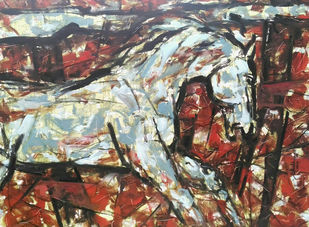 Untitled -70 by Santoshkumar R. Patil, Abstract Painting, Oil on Canvas, Brown color
