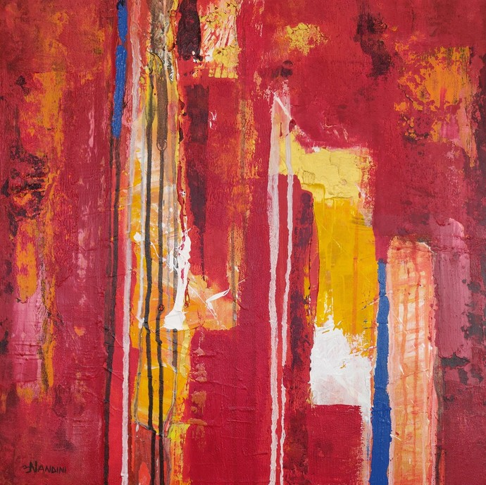 Flow of life NDV2 by Nandini, Abstract Painting, Acrylic on Canvas, Red color