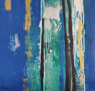 Flow of life NDV3 by Nandini, Abstract Painting, Acrylic on Canvas, Blue color