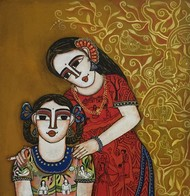 Mother and Daughter by Nandini, Expressionism Painting, Acrylic on Canvas, Brown color