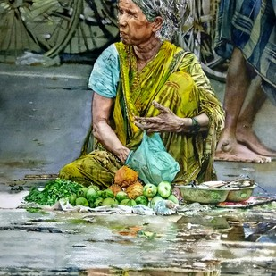 Street seller Digital Print by Uday Bhan,Realism