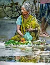 Street seller by Uday Bhan, Realism Painting, Watercolor on Paper, Green color