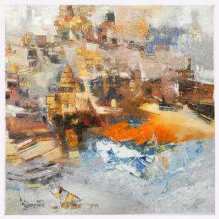 Banaras 07- 2014 by Anand Narain, Abstract Painting, Oil on Canvas, Beige color