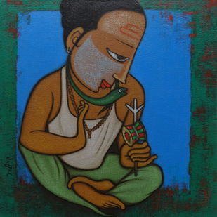 BAHURUPIYA - 1 by Hitendra Singh Bhati, Expressionism Painting, Acrylic on Canvas, Green color