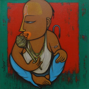 BAHURUPIYA - 2 by Hitendra Singh Bhati, Expressionism Painting, Acrylic on Canvas, Brown color