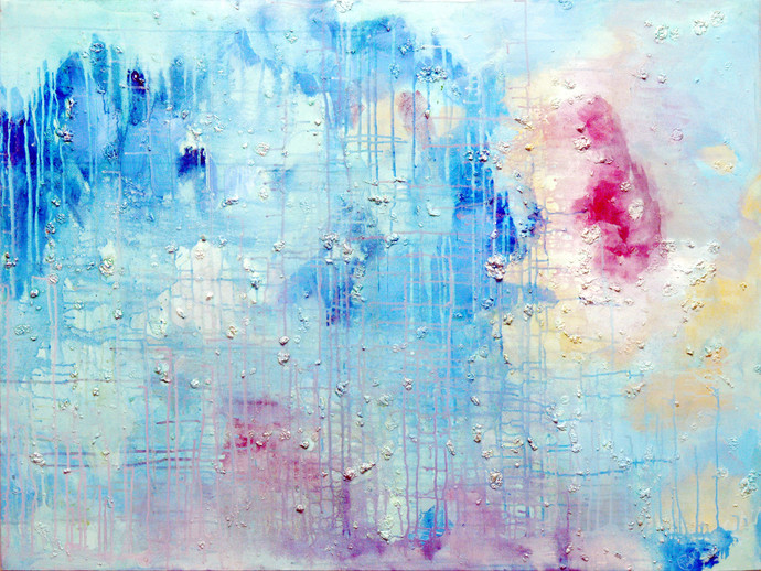 Reminisce about Halcyon Times by Priyadarshini Ohol, Abstract Painting, Acrylic on Canvas, Cyan color