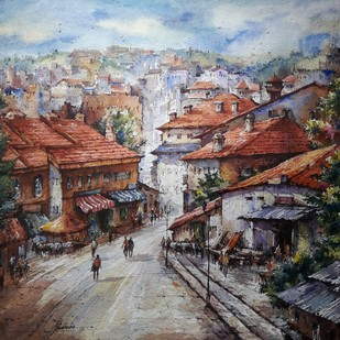 Hill city-1 by Shubhashis Mandal, Impressionism Painting, Watercolor on Paper, Brown color