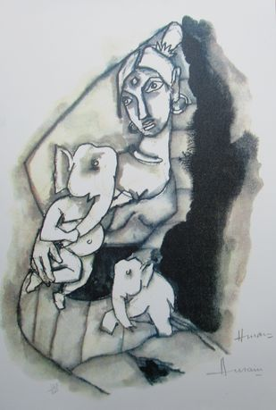 Ast Vinayak Series by M F Husain, Expressionism Printmaking, Lithography on Paper, Gray color