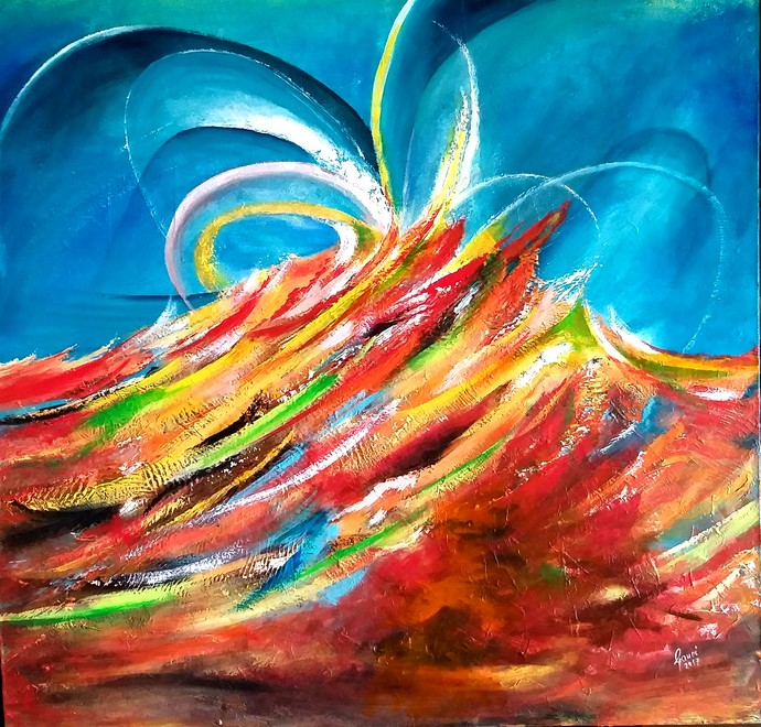 Euphoria by Gauri Gulati, Abstract Painting, Acrylic on Canvas, Brown color
