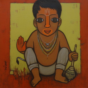 BAHURUPIYA - 3 by Hitendra Singh Bhati, Painting, Acrylic on Canvas, Brown color