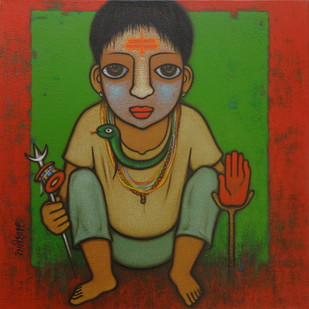 BAHURUPIYA - 4 by Hitendra Singh Bhati, Expressionism Painting, Acrylic on Canvas, Brown color